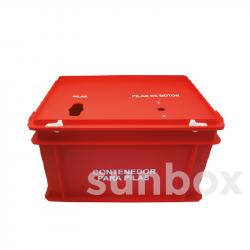 Caixa para pilhas vermelha (40x30x23,5cm)
